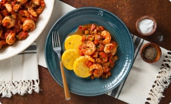 Shrimp Sofrito over Polenta Cakes