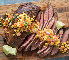 Ancho Chili Rubbed Steak Warm Corn Salsa