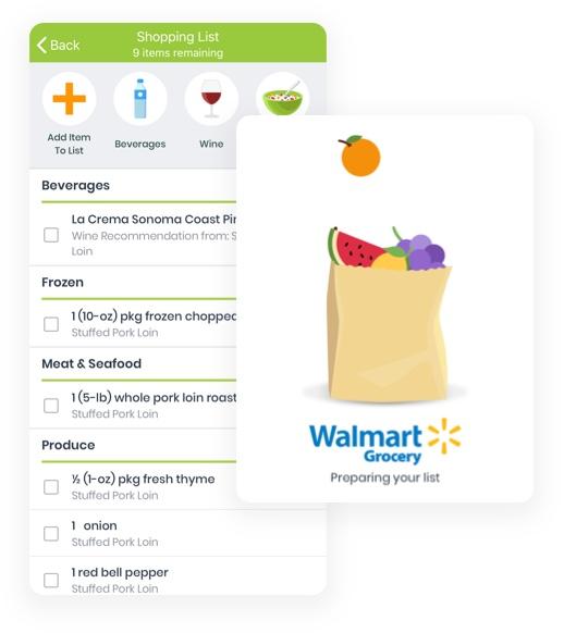 eMeals Shopping List view in eMeals App