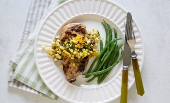 Grilled Chicken with Fresh Corn Relish and Green Beans