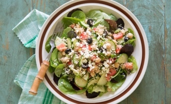 Greek Quinoa Salad with French Bread Toasts