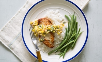 Chicken with Creamy Basil Corn Sauce and Steamed Rice and Green Beans