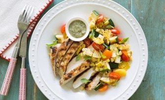 Grilled Chicken and Summer Veggies with Lime-Pesto