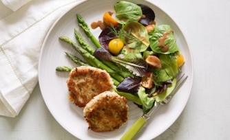 Tuna Cakes with Lemony Artichoke Hearts and Asparagus