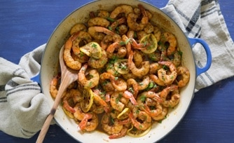 Spicy New Orleans Barbecue Shrimp with Browned Butter Broccoli