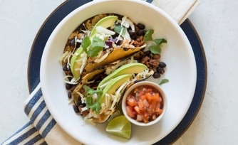Beef-Chorizo Street Tacos with Radish Salsa