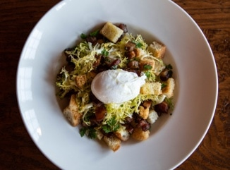 Poached Egg, Bacon and Crouton Frisee Salad